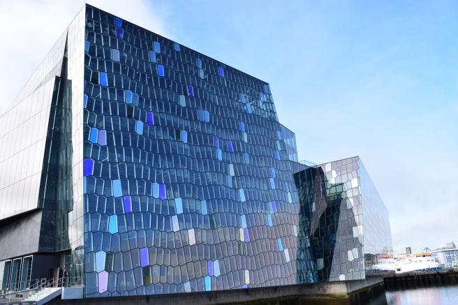Harpa Concert Centre reflection wall in Reykjavik Iceland