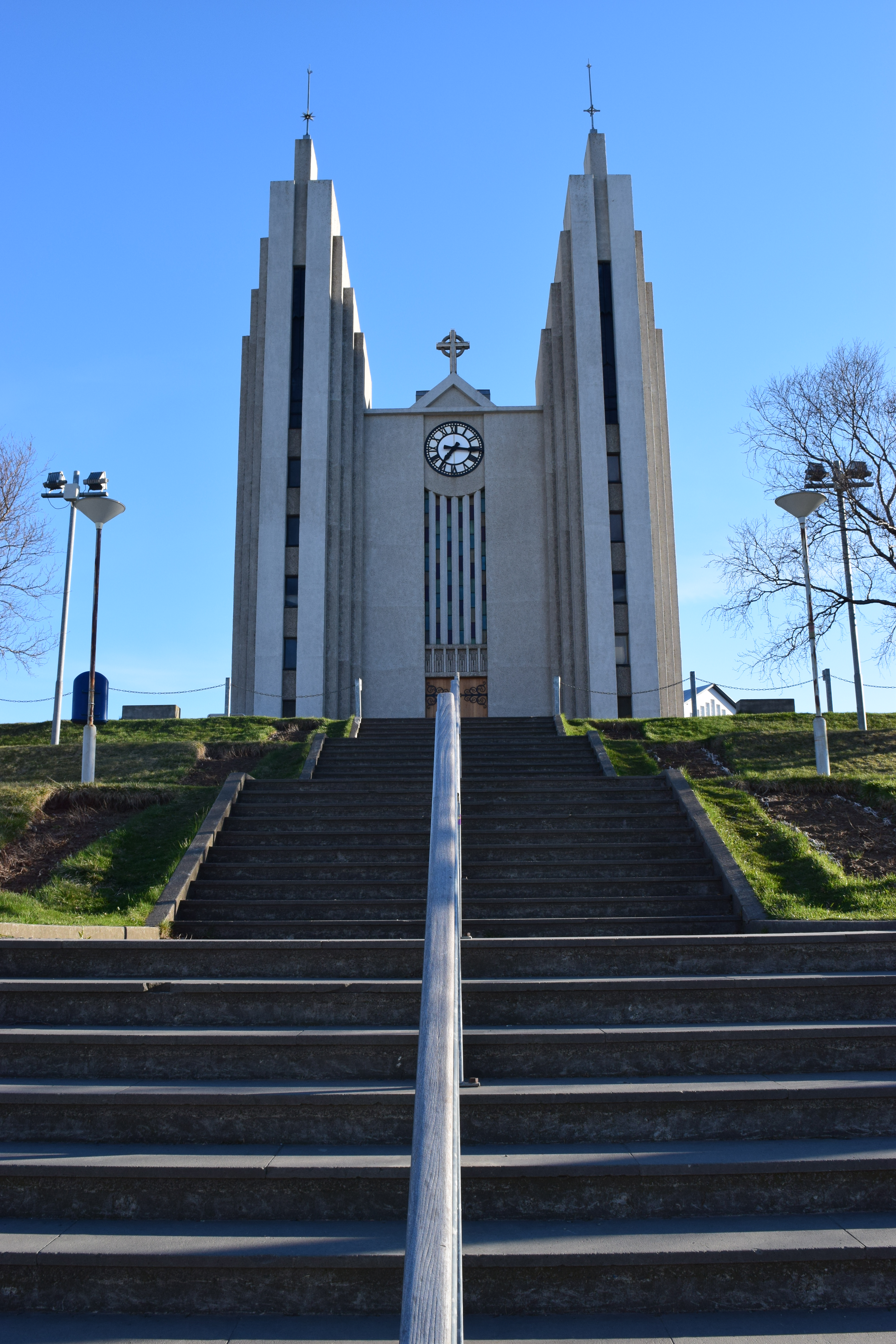 Akureyri church with staircase leading to the front of the church