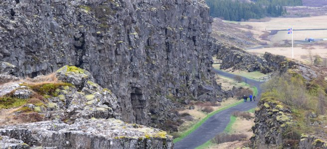 Almannagjá Mid-Atlantic Rift in Þingvellir National Park in Iceland