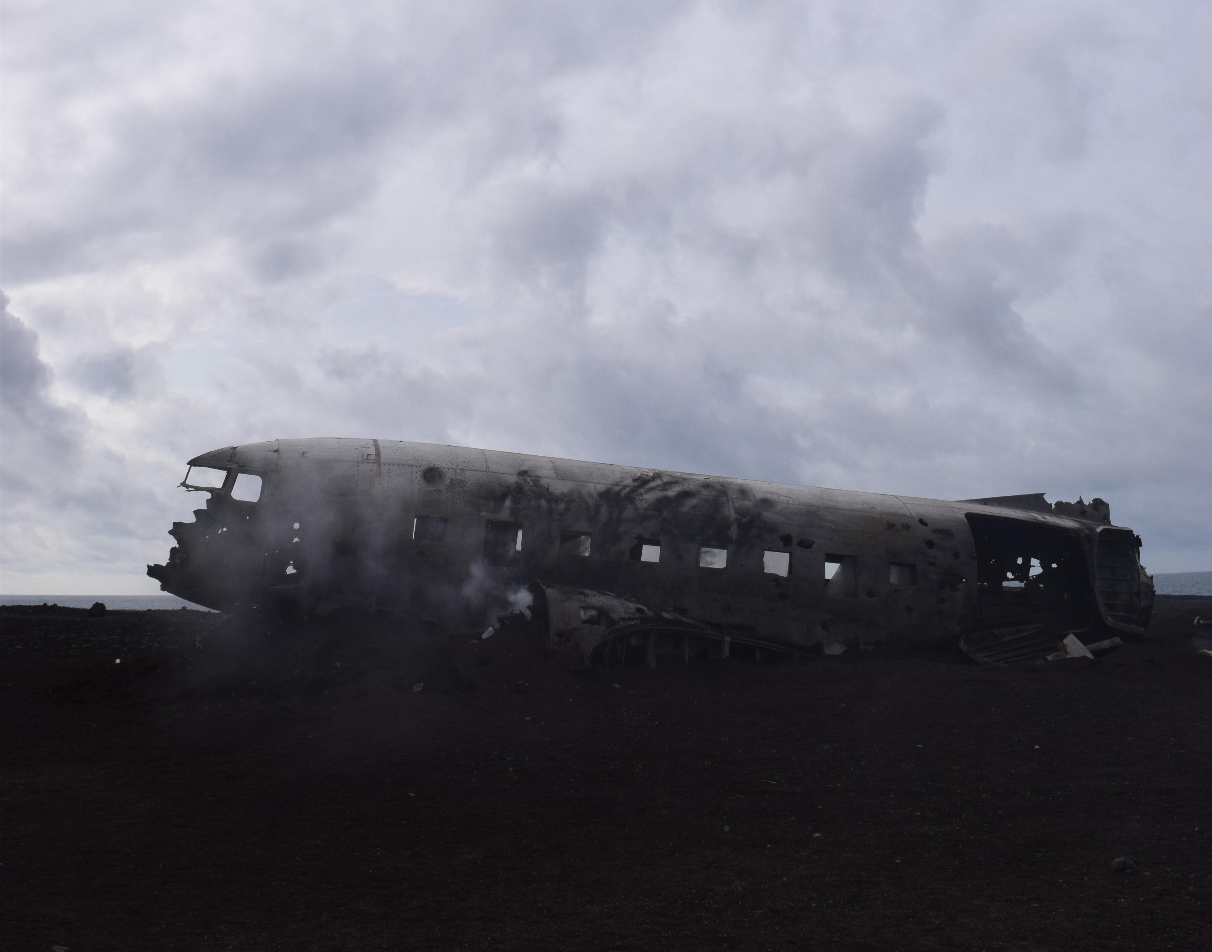 Sólheimasandur airplane wreckage in the black sand beaches in Iceland