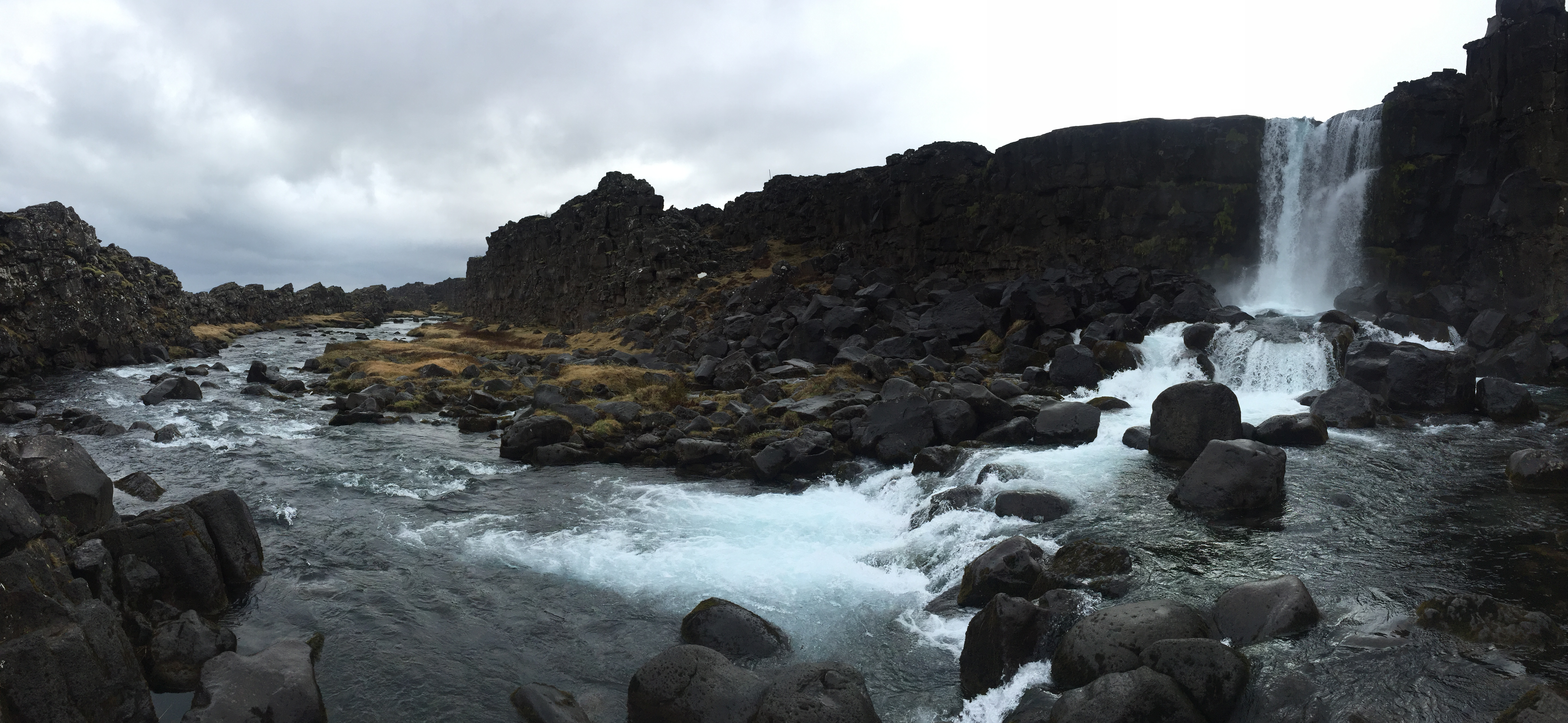 Öxarárfoss waterfall in Iceland with water rolling over the rocks