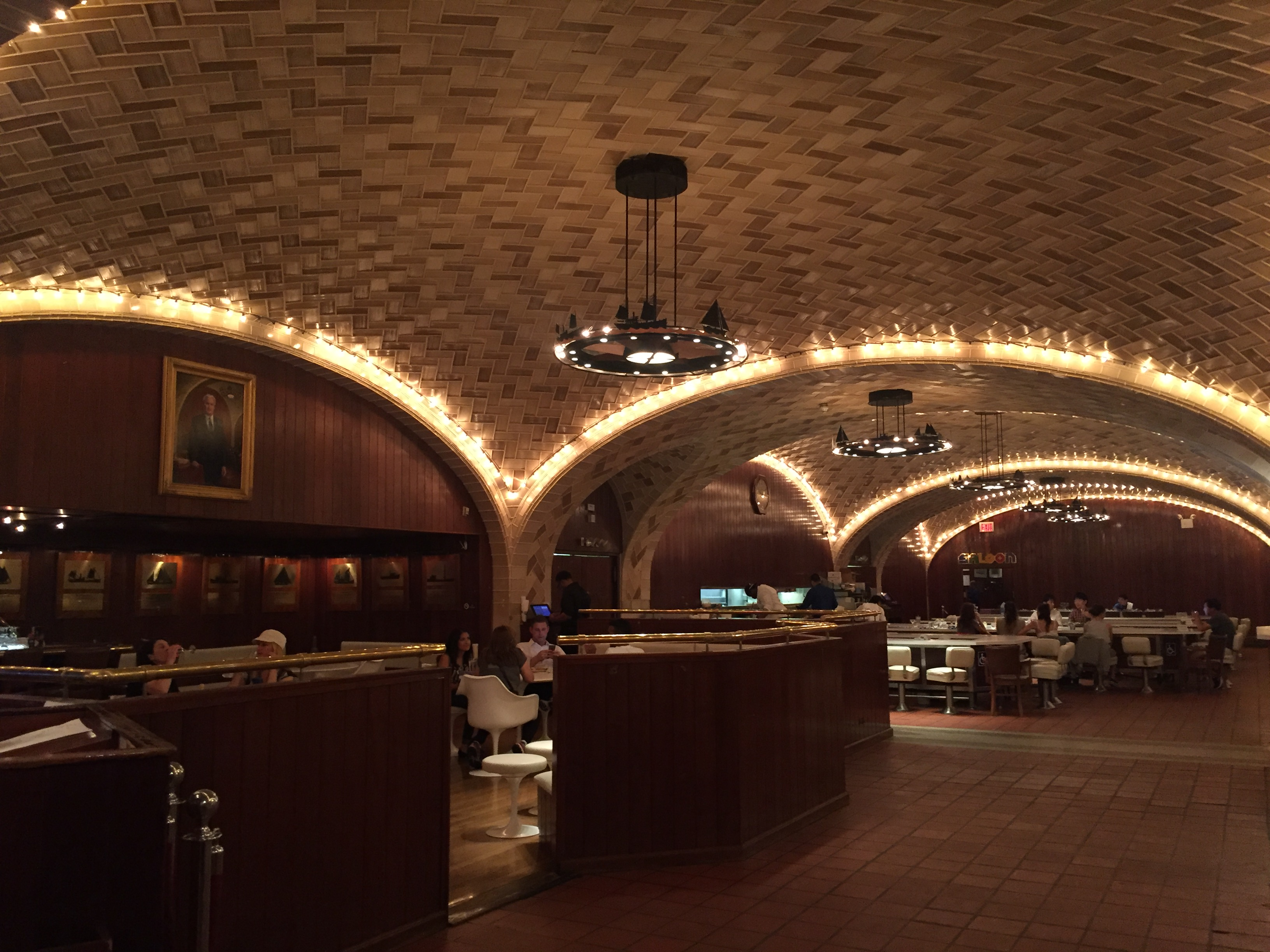 Oyster Bar with lights in arches in Grand Central Terminal