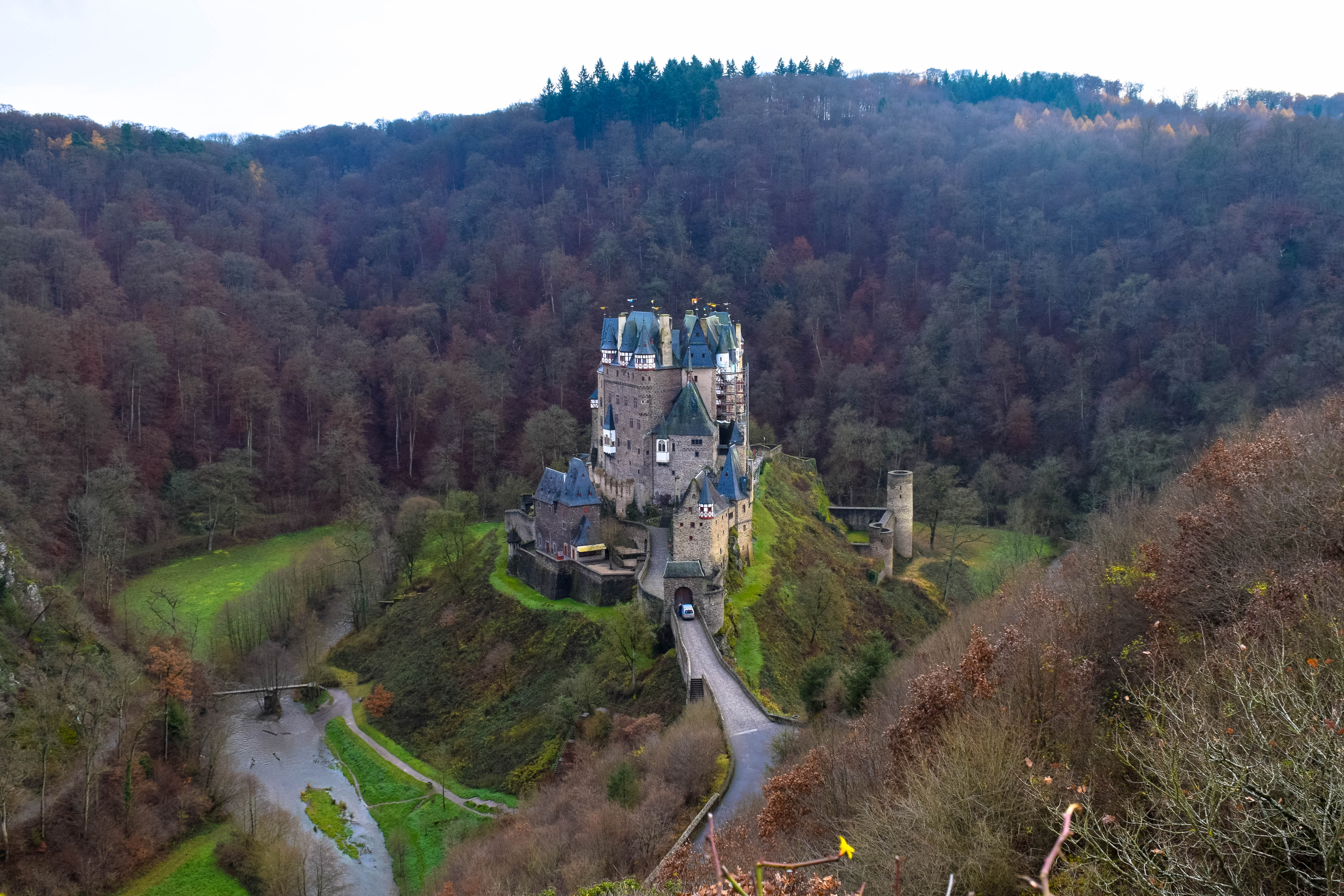 Burg Eltz Castle as seen from above looking down into the hills