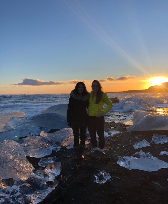 Diamond beach in Iceland during sunset