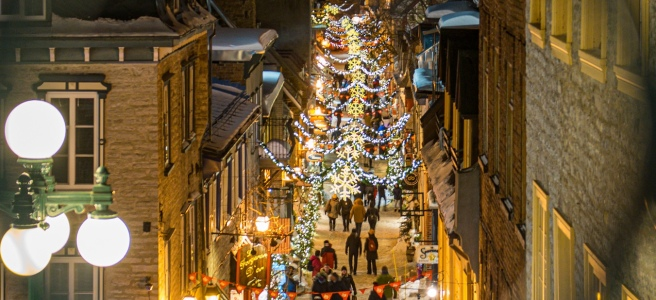 Quartier Petit Champlain during winter in Quebec City European charm