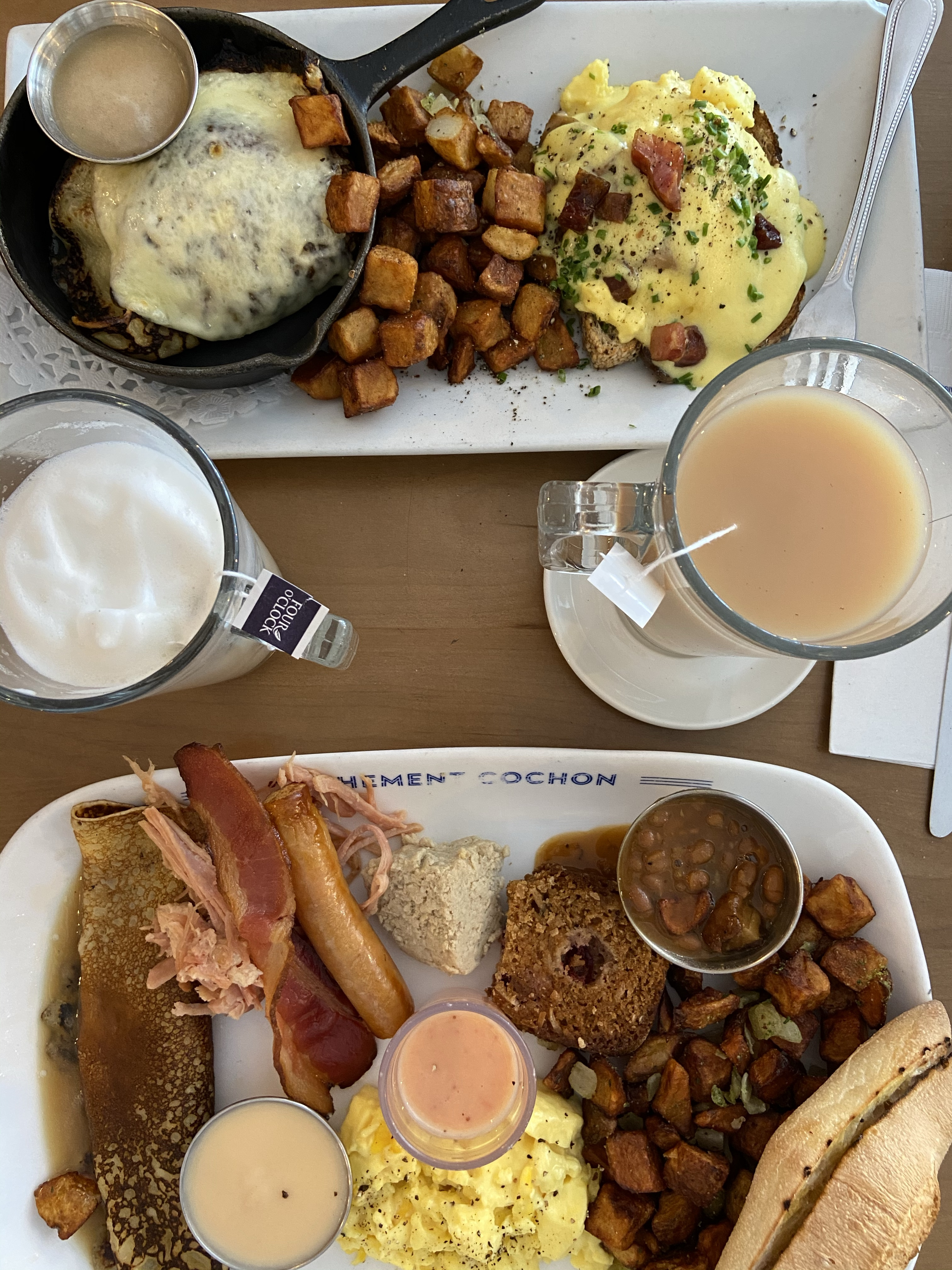 Brunch Cochon Dingue in Old Quebec City with eggs and bacon and sausage and a London Fog