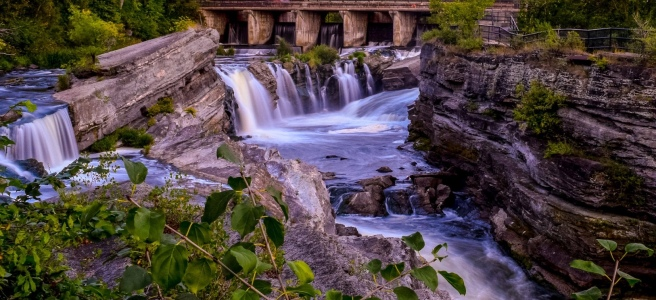 Hogs Back Falls at sunset with long exposure waterfall in Ottawa Ontario