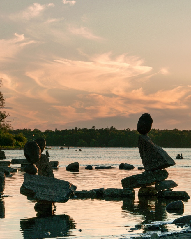 Remic Rapids during an orange sunset over the Ottawa River