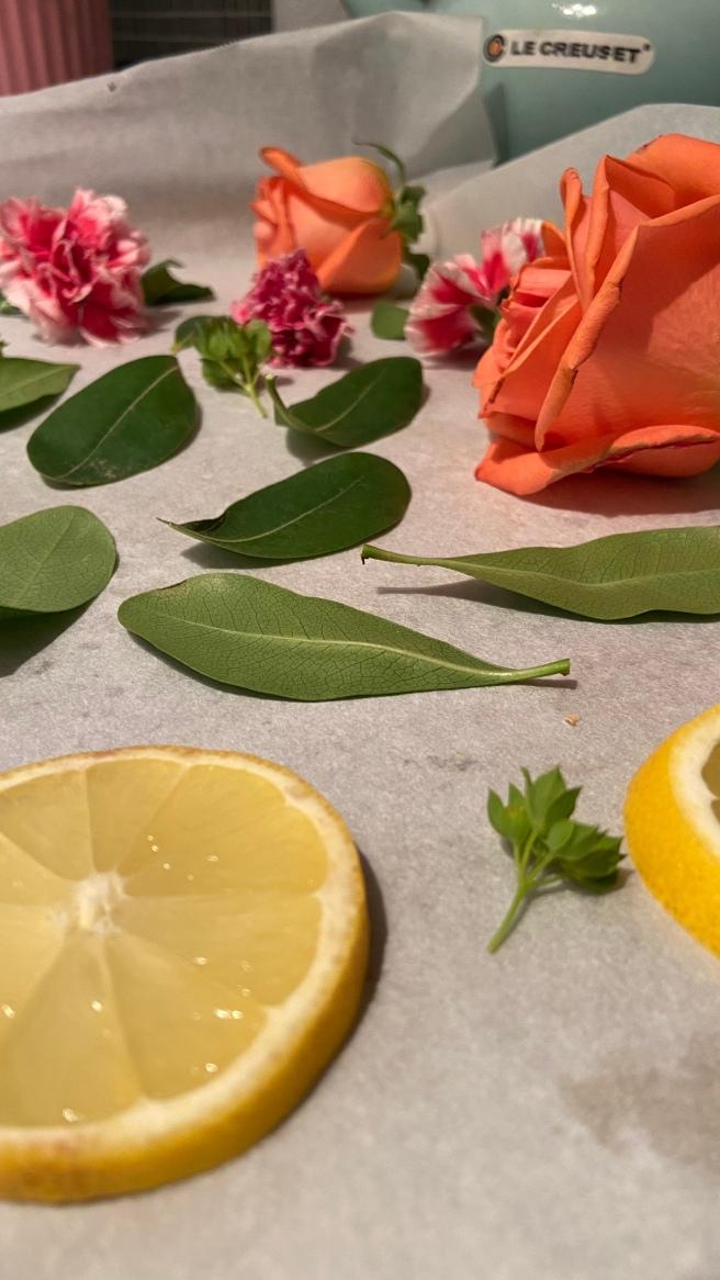 Flowers on a baking sheet
