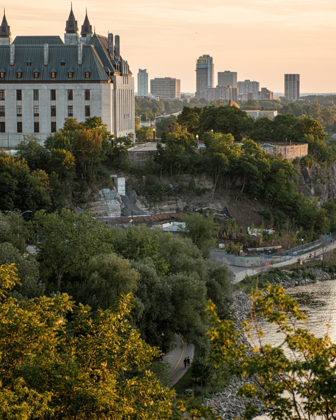 National Archives Library of Canada during golden hour in Ottawa Ontario Canada