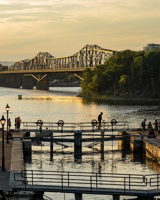 Alexandra Bridge and Rideau Canal Locks during Golden Hour in Ottawa Ontario Canada