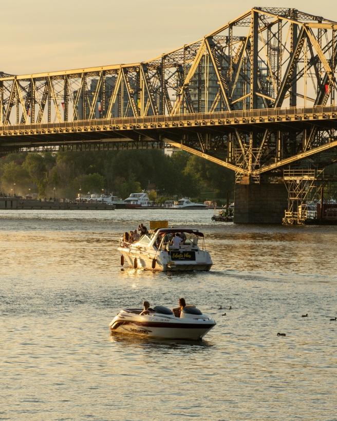 Alexandra Bridge on Ottawa River during golden hour