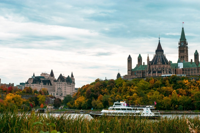 Fall autumn colours on parliament hill in Ottawa Ontario