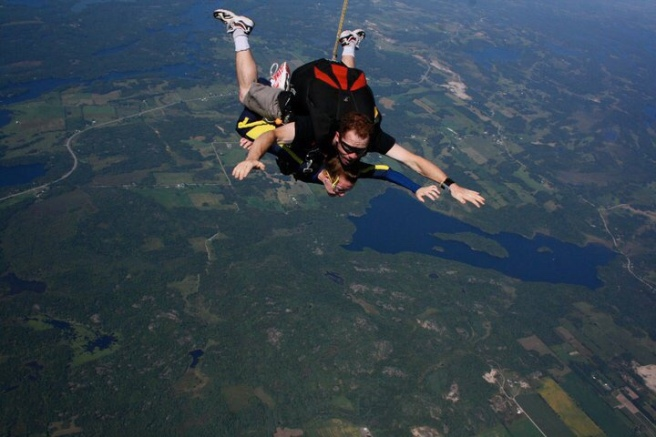 Skydiving with tandem jumpers and aerial view