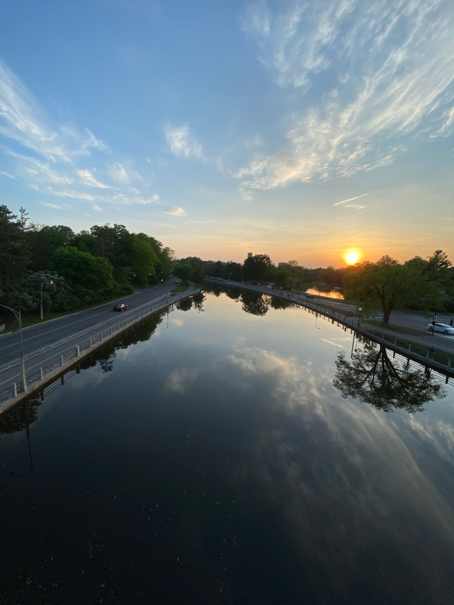 View of the Rideau Canal during sunset