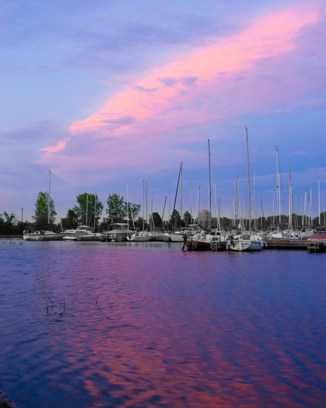 Nepean Sailing Club during a pink and purple sunrise