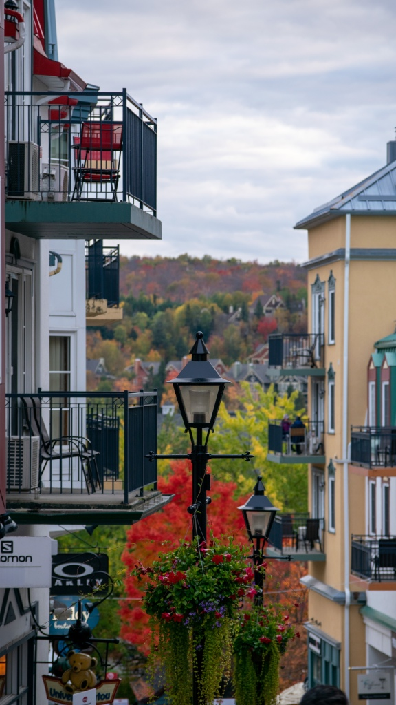View of fall colours from Mont Tremblant Village