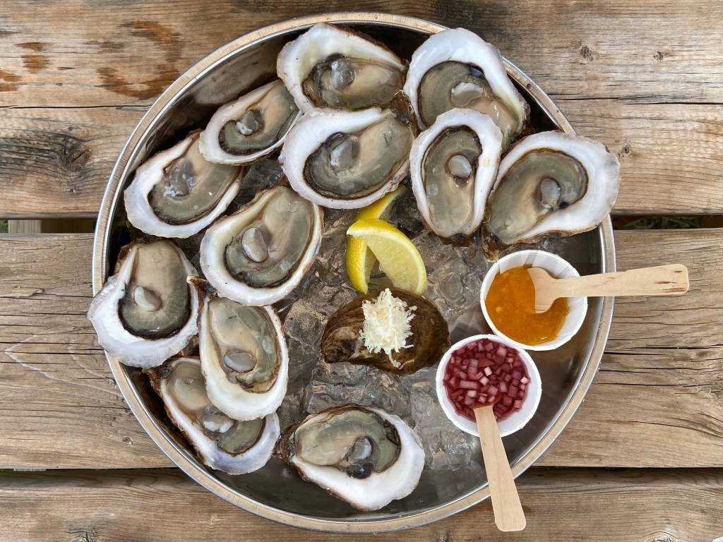 Dozen oysters with hot sauce and lemons at Parson's Brewery in Prince Edward County