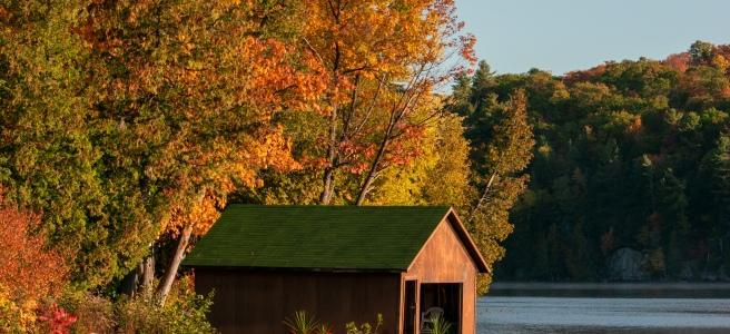 Golden hour on Meech Lake during fall