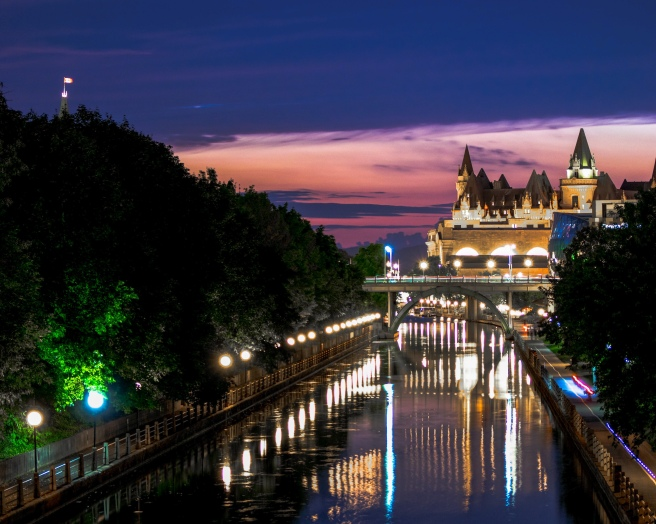 Long exposure during sunset of the Chateau Fairmont Laurier